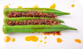 Boiled Raw Okra With Sambal VII Stock Images