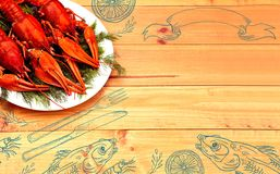 Seafood menu design, centre spread. Hand drawn illustration, lemon, shrimps, fork and knife, dried fish, glass of beer. Boiled red crawfish on a plate with Stock Images