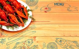 Seafood menu design, centre spread. Hand drawn illustration, lemon, shrimps, fork and knife, dried fish, glass of beer. Boiled red crawfish on a plate with Royalty Free Stock Image