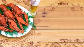 Seafood menu design, centre spread. Hand drawn illustration, lemon, shrimps, fork and knife, dried fish, glass of beer. Boiled red crawfish on a plate with Royalty Free Stock Photography