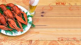 Seafood menu design, centre spread. Hand drawn illustration, lemon, shrimps, fork and knife, dried fish, glass of beer. Boiled red crawfish on a plate with Stock Photos