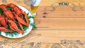 Seafood menu design, centre spread. Hand drawn illustration, lemon, shrimps, fork and knife, dried fish, glass of beer. Boiled red crawfish on a plate with Royalty Free Stock Photo