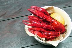 Boiled red crawfish on wood Royalty Free Stock Photo