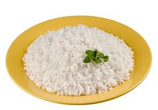 Boiled Rice. Portion of Boiled Rice on yellow plate Stock Image