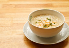Boiled rice. With shrimp for health Royalty Free Stock Photography
