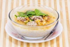 Boiled rice in glass bowl Royalty Free Stock Photo