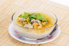 Boiled rice in glass bowl Royalty Free Stock Image