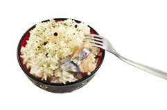 Boiled rice with herring Royalty Free Stock Photography