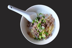 Boiled rice with mince pork, Congee in white bowl Royalty Free Stock Images