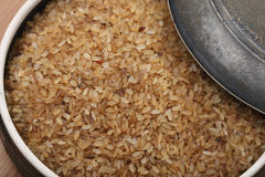 Boiled Rice or Parboiled rice. Is subjected to a steaming or parboiling process while still a brown rice. This causes nutrients from the outer husk to move into Royalty Free Stock Photo
