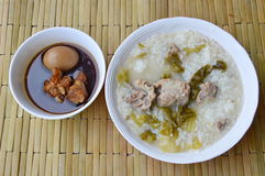 Boiled rice with pickled Chinese cabbage and pork bone soup Royalty Free Stock Photos