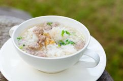 Boiled rice with pork Royalty Free Stock Photography