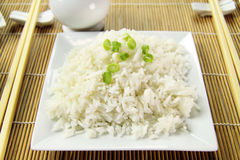 Boiled Rice And Shallots Royalty Free Stock Photos