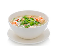 Boiled rice with shrimp on white background Stock Photography