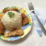 Boiled rice with slices of roast chicken Royalty Free Stock Image