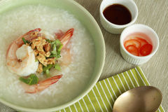 Boiled rice soup with shrimps Stock Photo