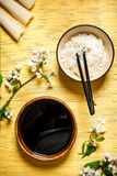 Boiled rice with soy sauce and the cherry branches Royalty Free Stock Photography