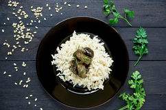 Boiled rice with stewed eggplants decorated with herbs Royalty Free Stock Photos