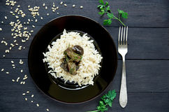 Boiled rice with stewed eggplants and fork decorated with herbs Royalty Free Stock Photos
