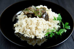 Boiled rice with stewed eggplants and herbs Stock Images