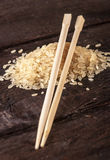 Boiled rice with sticks Stock Photos