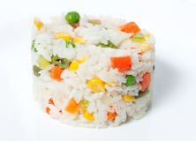 Boiled rice with vegetables.  Royalty Free Stock Images