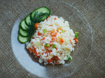 Boiled rice with vegetables Royalty Free Stock Photos
