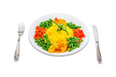 Boiled rice with vegetables Stock Images