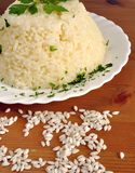 Boiled rice on a white plate Royalty Free Stock Photography