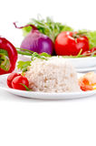 Boiled rice on white plate with vegetables and prawn Royalty Free Stock Photos