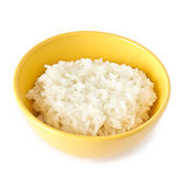Boiled rice in a yellow bowl Royalty Free Stock Image