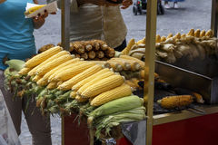 Boiled and Roasted corn for sale in the street of Istanbul. Royalty Free Stock Image