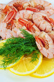 Boiled royal Argentine shrimp with lemon and dill  on a plate Stock Image