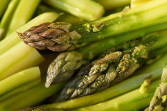 Boiled and salted green asparagus Stock Photography