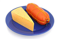 Boiled sausage and cheese Royalty Free Stock Images