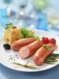Boiled sausage with cheese Stock Photo