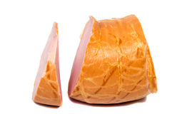 Boiled sausage ham slices on white background. Stock Image