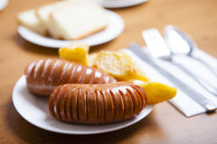 Boiled sausages from beef. With potato Stock Photography