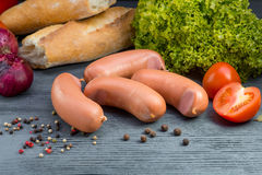 Boiled sausages Stock Photos