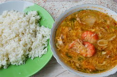 Boiled seafood in egg soup eat with rice Stock Photos