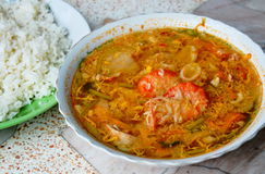 Boiled seafood in spicy egg soup eat with rice Royalty Free Stock Photo