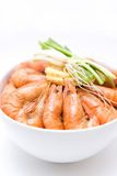 Boiled shrimp. Delicious boiled shrimp isolated in white bowl Stock Image