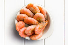 Boiled shrimp in bowl Royalty Free Stock Images