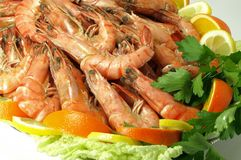 Boiled shrimp buffet Royalty Free Stock Images