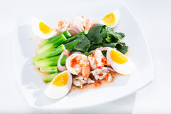 Boiled shrimp and eggs with vegetables Stock Photo