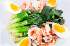 Boiled shrimp and eggs with vegetables Stock Photos