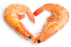 Boiled shrimp heart shape Stock Photography