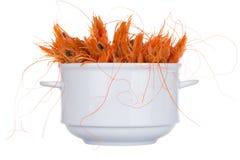 Boiled shrimp isolated on white Royalty Free Stock Photos