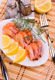 Boiled shrimp on an oval platter. Stock Photography