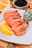 Boiled shrimp on an oval platter Royalty Free Stock Photos